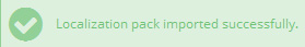 Localization pack imported successfully