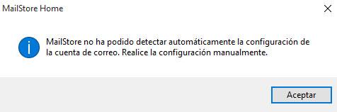 MailStore -> Configuracion Auto No Detectada