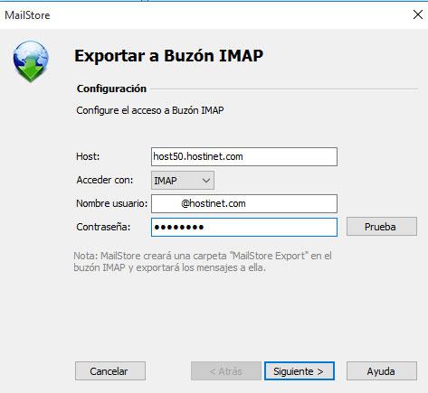 MailStore -> Exportar Buzon IMAP