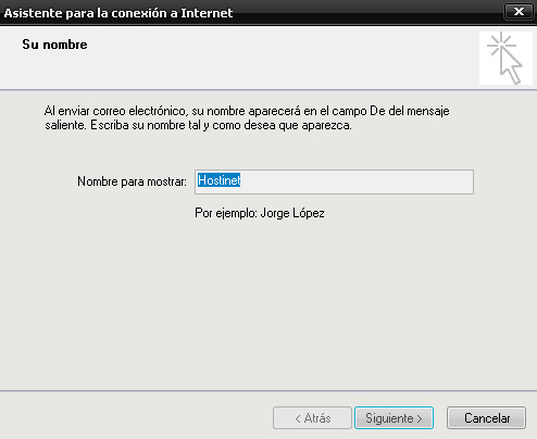 outlook express - nombre hostinet