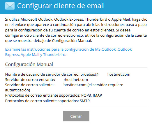 Plesk - Configurar Cliente de Email Datos