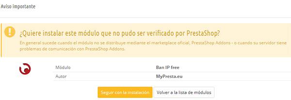 Aviso en la instalación de Ban IP Free