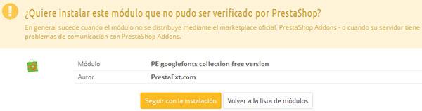 Aviso en la instalación de GoogleFonts Free Module