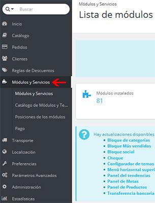 módulos y servicios PrestaShop