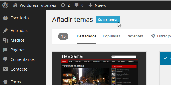 Instalar un theme nuevo en Wordpress