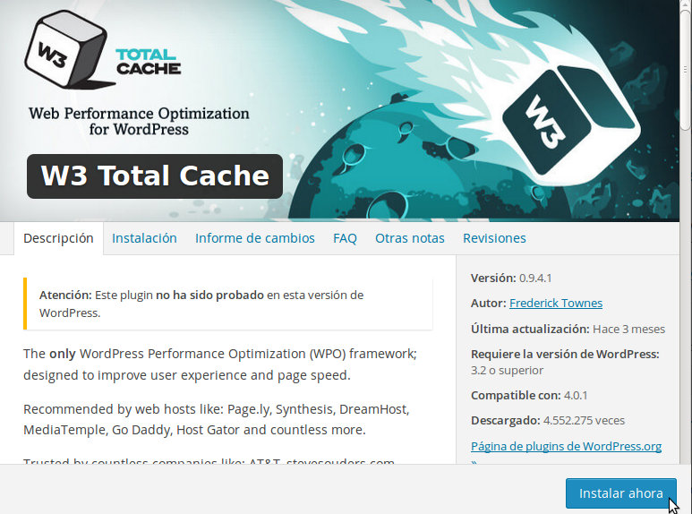 W3 Total Cache Plugin WordPress