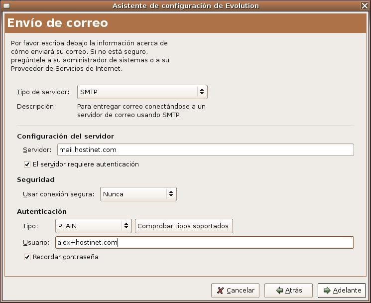 Configuración del servidor para el correo saliente