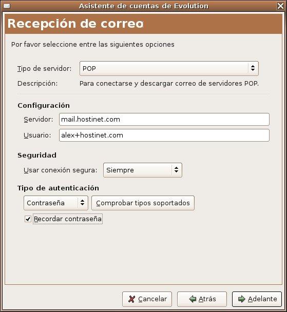 Elige el tipo de servidor para configurar el correo entrante