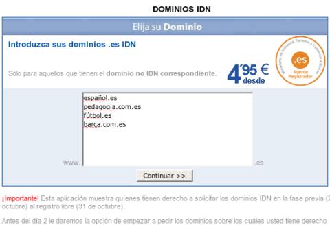 Dominios .es IDN