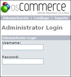 Pantalla de acceso al panel de administración de OsCommerce