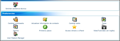 Hosting wordpress Vista general del CPanel
