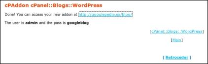 Ventana que nos informa de que el blog se ha creado con éxito