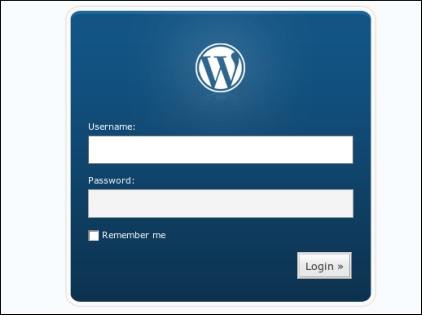 Pantalla de acceso al panel de administración del blog