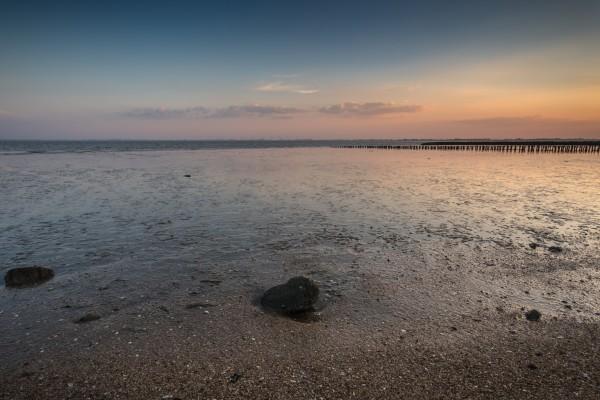 Ebbe Nordsee bei Sonnenuntergang