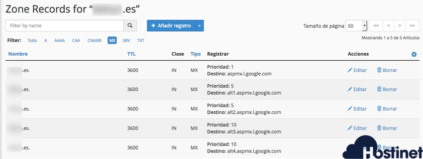 registros mx dominio cPanel desde Zone Editor