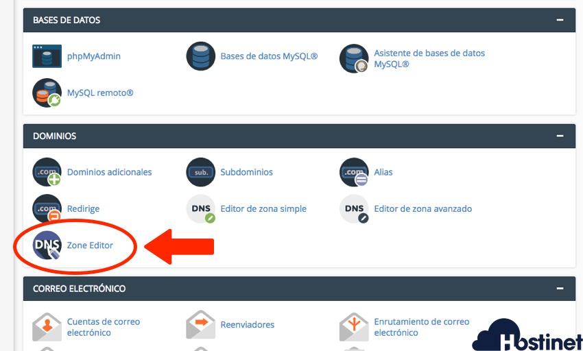 zone editor herramienta en cPanel