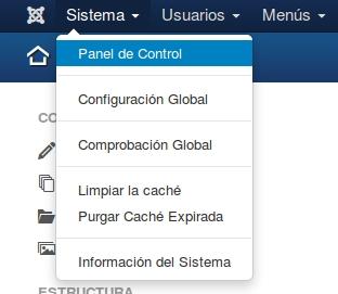 instalar joomla3 sistema panel control
