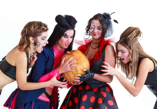 Halloween women with pumpkin