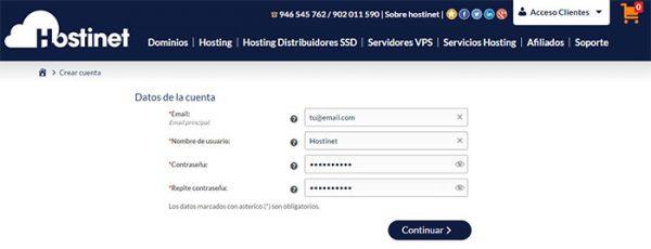 datos cuenta nuevo cliente Hostinet