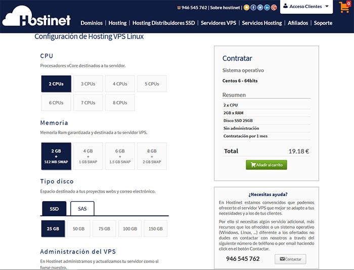 Configuración VPS a medida Hostinet
