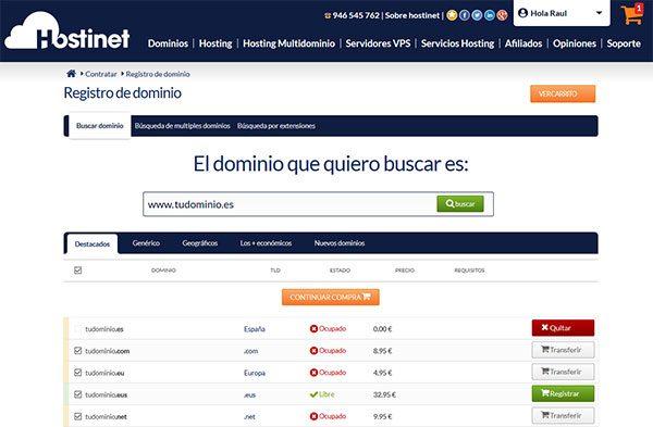 Transferir Dominio .ES Continuar Compra