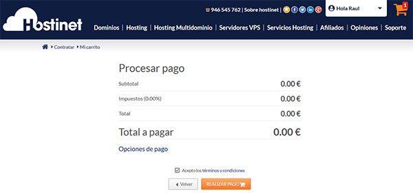 Transferir Dominio .ES Procesar Pago