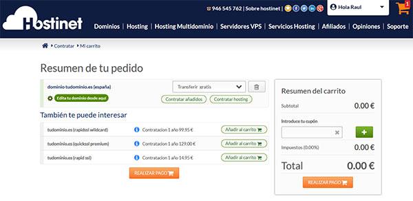 Transferir Dominio .ES Realizar Pago