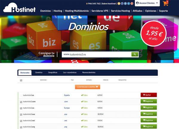 Hostinet Dominios Tudominio2.es