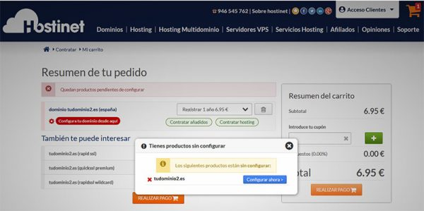 Hostinet Dominios Tudominio2.es Pago