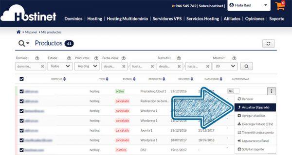 Hostinet Mis Productos Actualizar Flecha Transparente