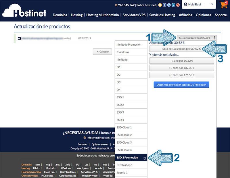 Hostinet Mis Productos Actualizar SSD3 Flecha Transparente