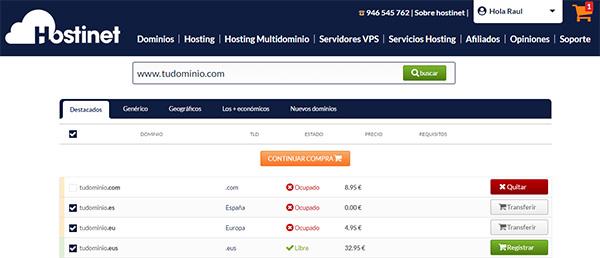 Transferir Dominio .COM Continuar Compra