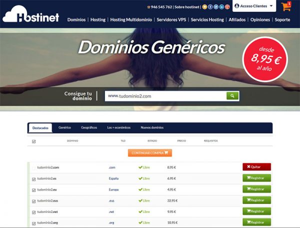 Hostinet tudominio2.com