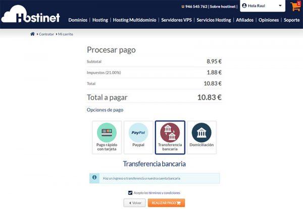 Hostinet tudominio2.com métodos pago