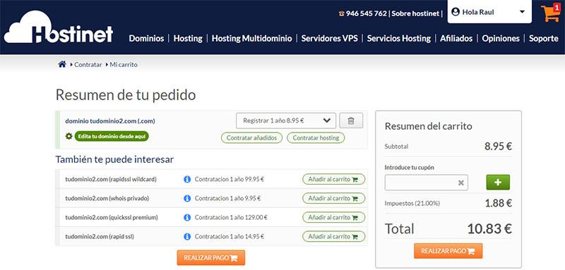 Realizar pago dominio .com