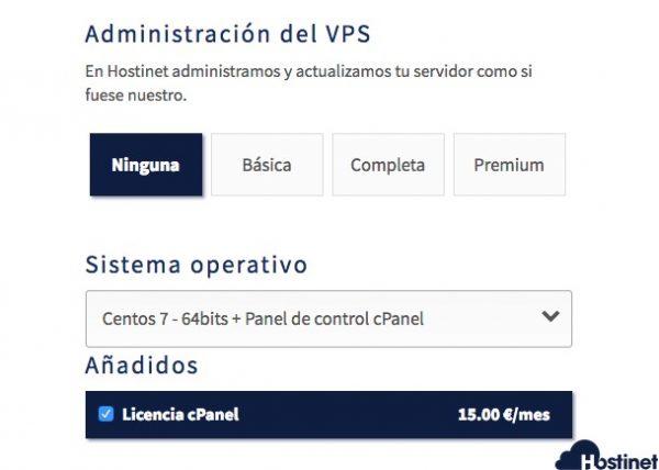 Contratar servidor VPS no administrado con cPanel en Hostinet