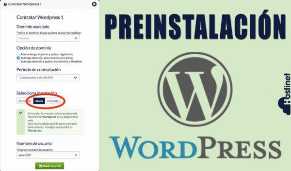 WordPress Preinstalado en con el Hosting WordPress en Hostinet