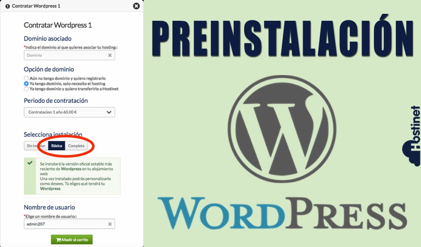 WordPress Preinstalado en con el Hosting WordPress en Hostinet