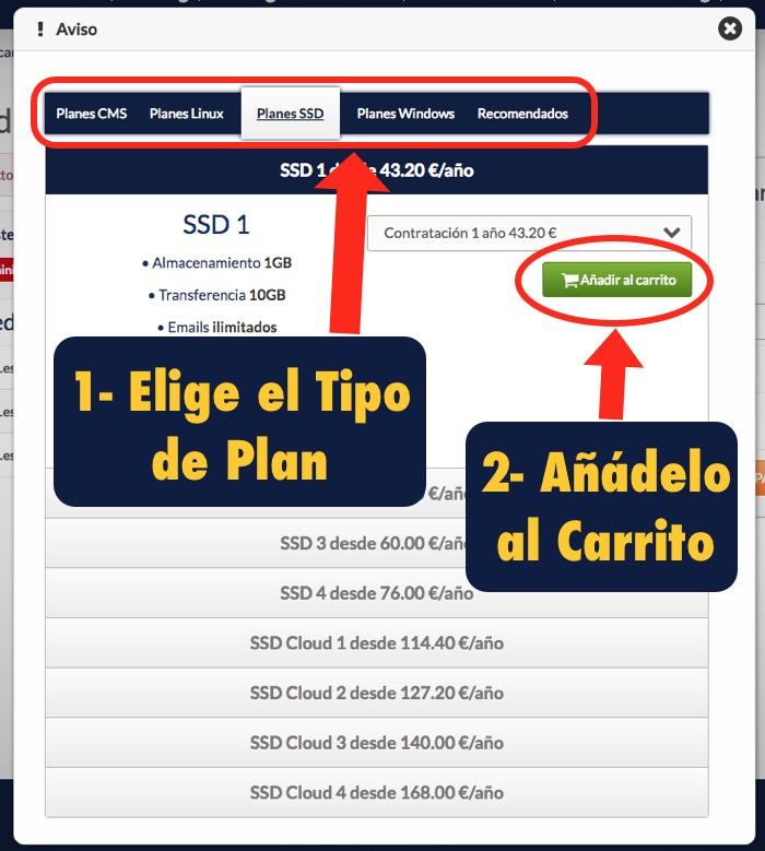 anadir hosting carrito en Hostinet .com