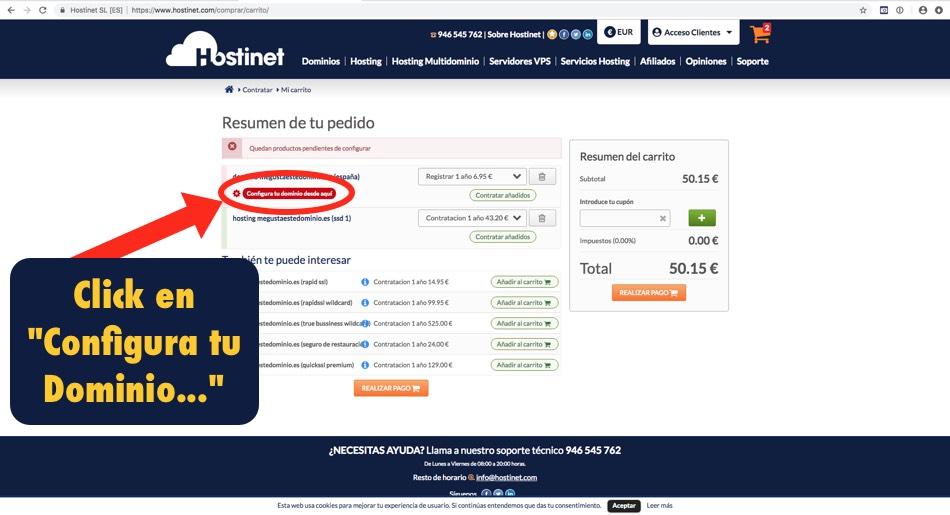 carrito compra hostinet configurar dominio - Hostinet.com