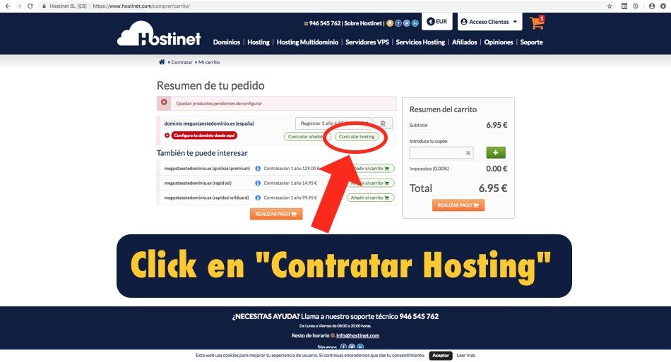 carrito compra hostinet contratar hosting - Hostinet.com