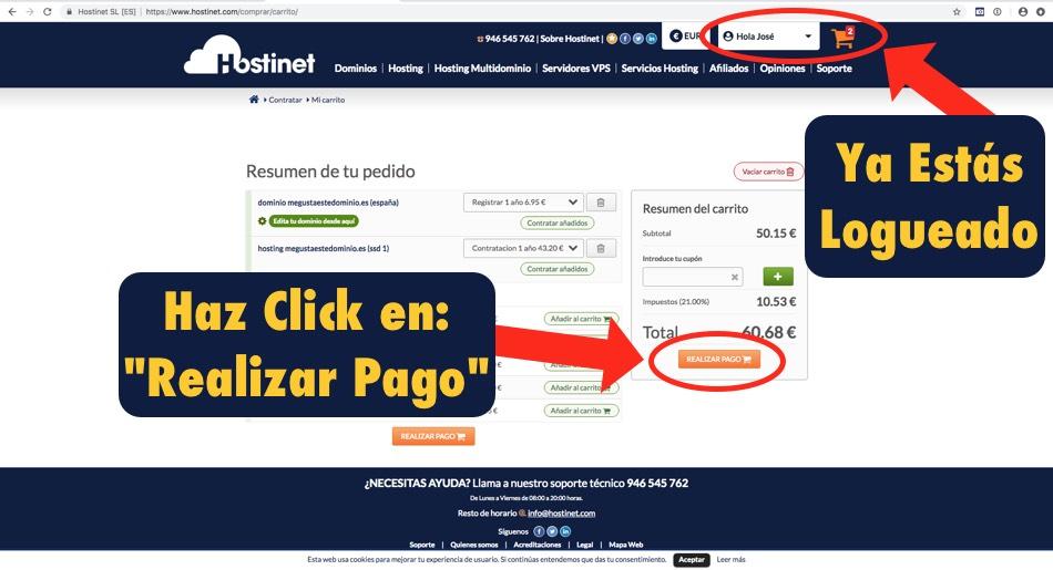 carrito hostinet realizar pago - Hostinet.com