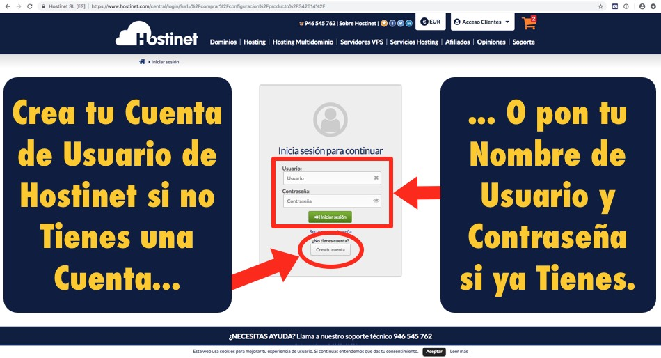 crear cuanta usuario hostinet - Hostinet.com