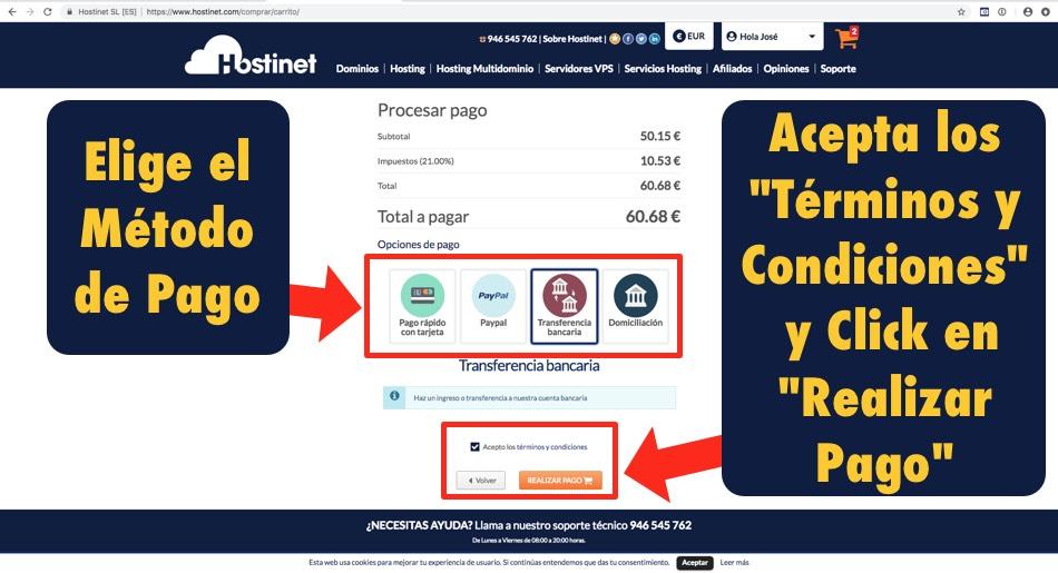 pagar contratar hosting dominios en Hostinet.com