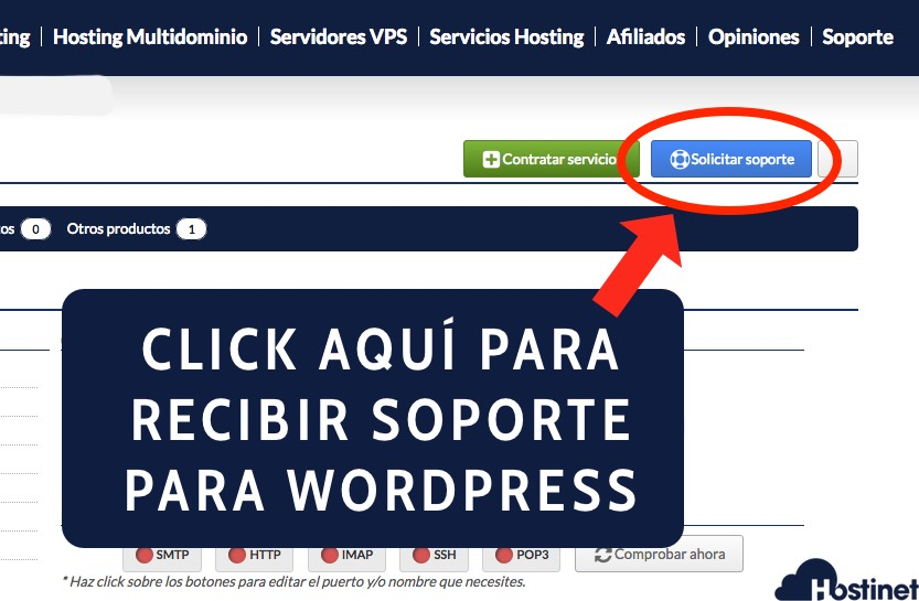 soporte hosting wordpress mis productos hostinet