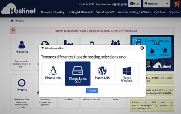 Hostinet Contratar Hosting Planes Linux SSD