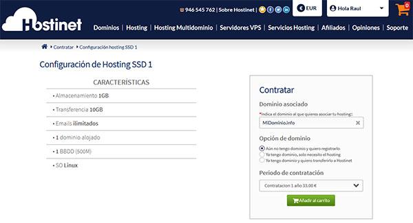 Hostinet Contratar Hosting SSD1 MiDominio.info
