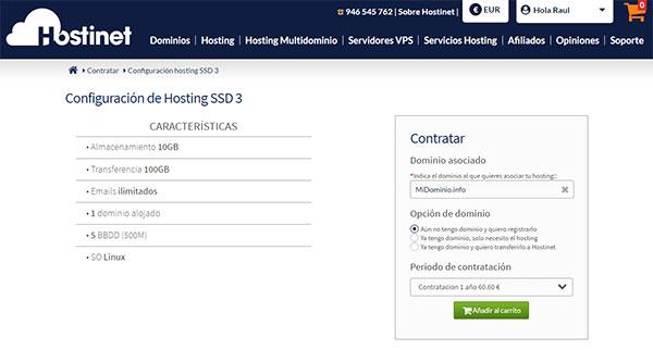 Hostinet Contratar Hosting SSD3 MiDominio.info
