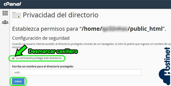 cpanel privacidad directorio desmarcar casillero