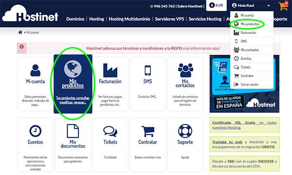 HostingSSD - Mis Productos